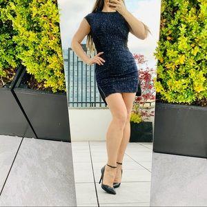 TIME Wool Metal Zipper Shaper Fashion Mini Dress